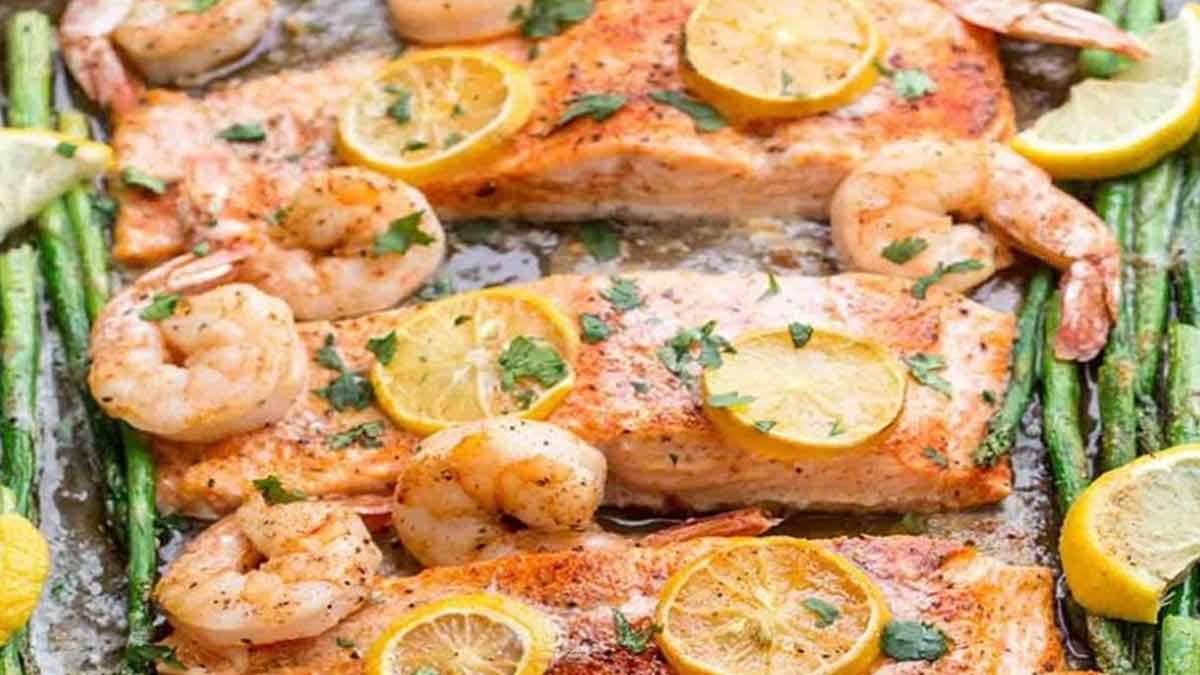 saumon-crevettes au four