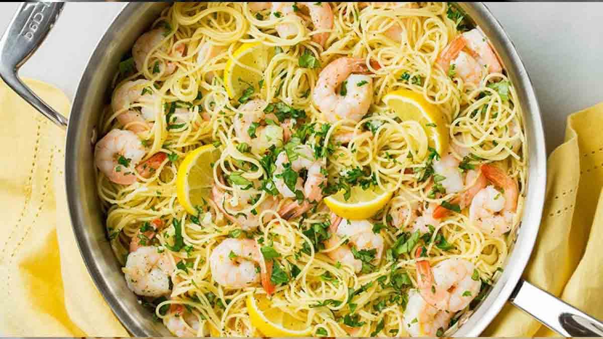 spaghettis citron-crevettes