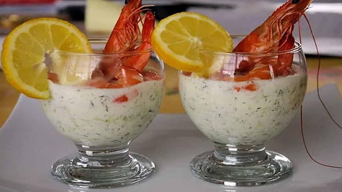 verrine de crevettes-concombre