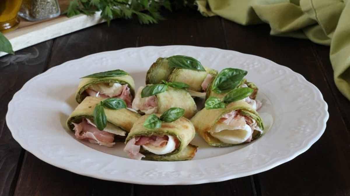Rouleaux de courgettes farcies au jambon et mozzarella