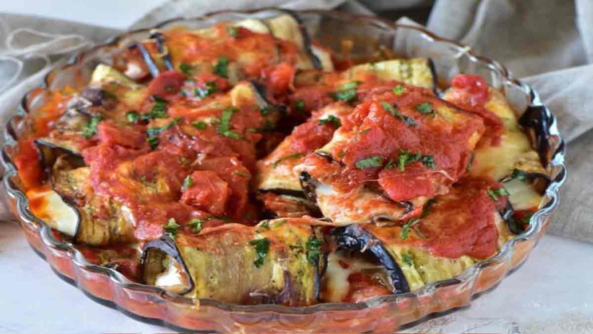 rouleaux d'aubergines à la mozzarella-jambon