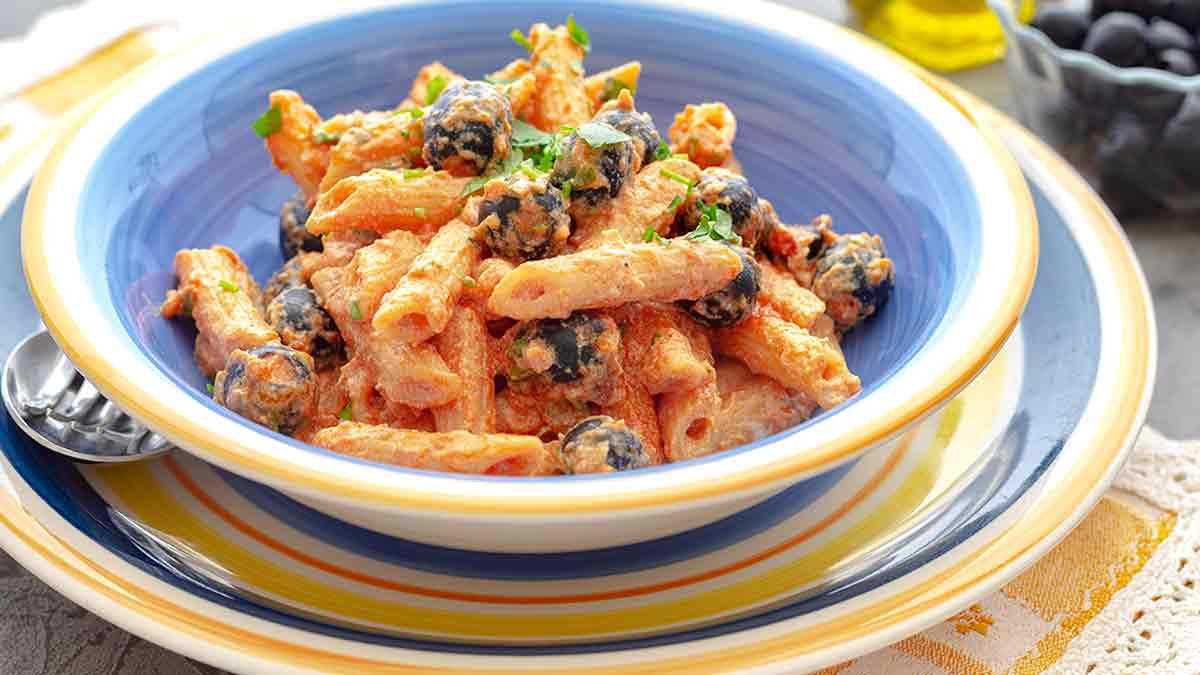 pâtes tomates-ricotta et olives