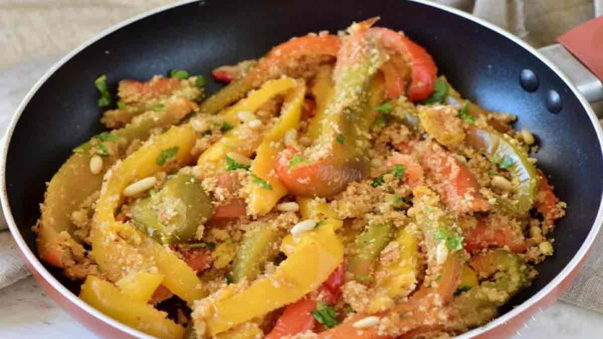 poivrons à la poêle et anchois au parmesan