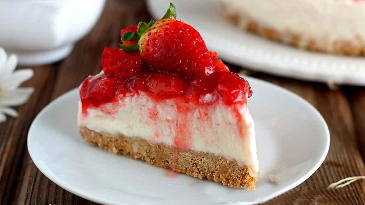 gâteau froid ricotta-fraises