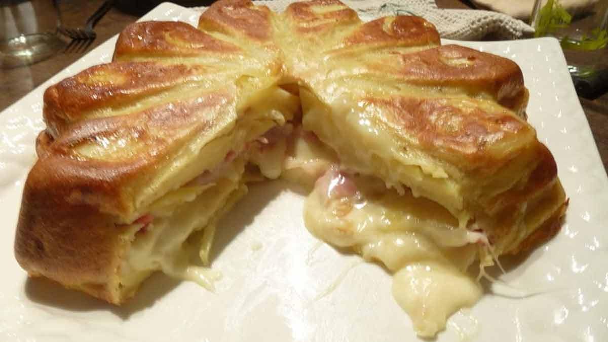 gâteau à la raclette et jambon cuit
