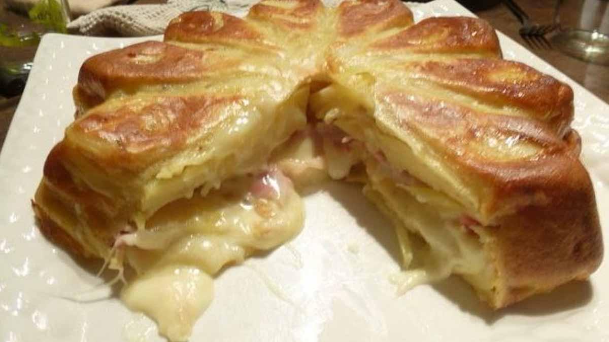 gâteau salé à la raclette et jambon