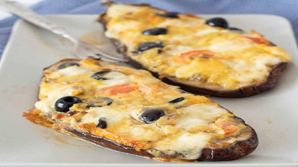 aubergines à la farce de fromage et olives