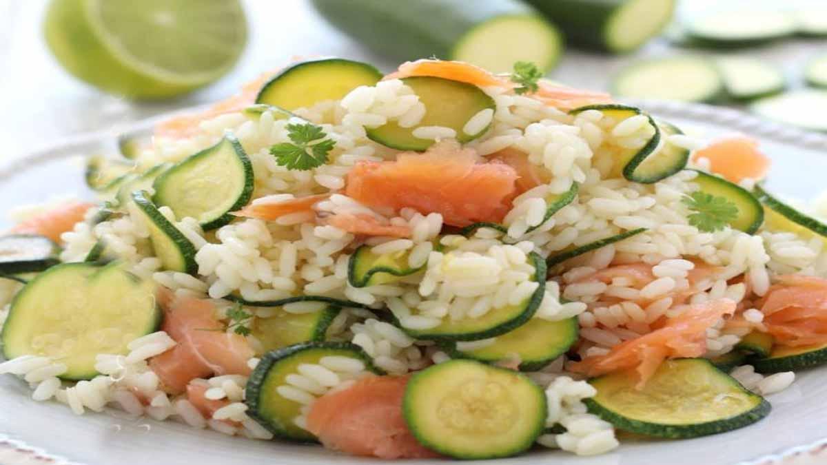 salade de riz aux courgettes et saumon