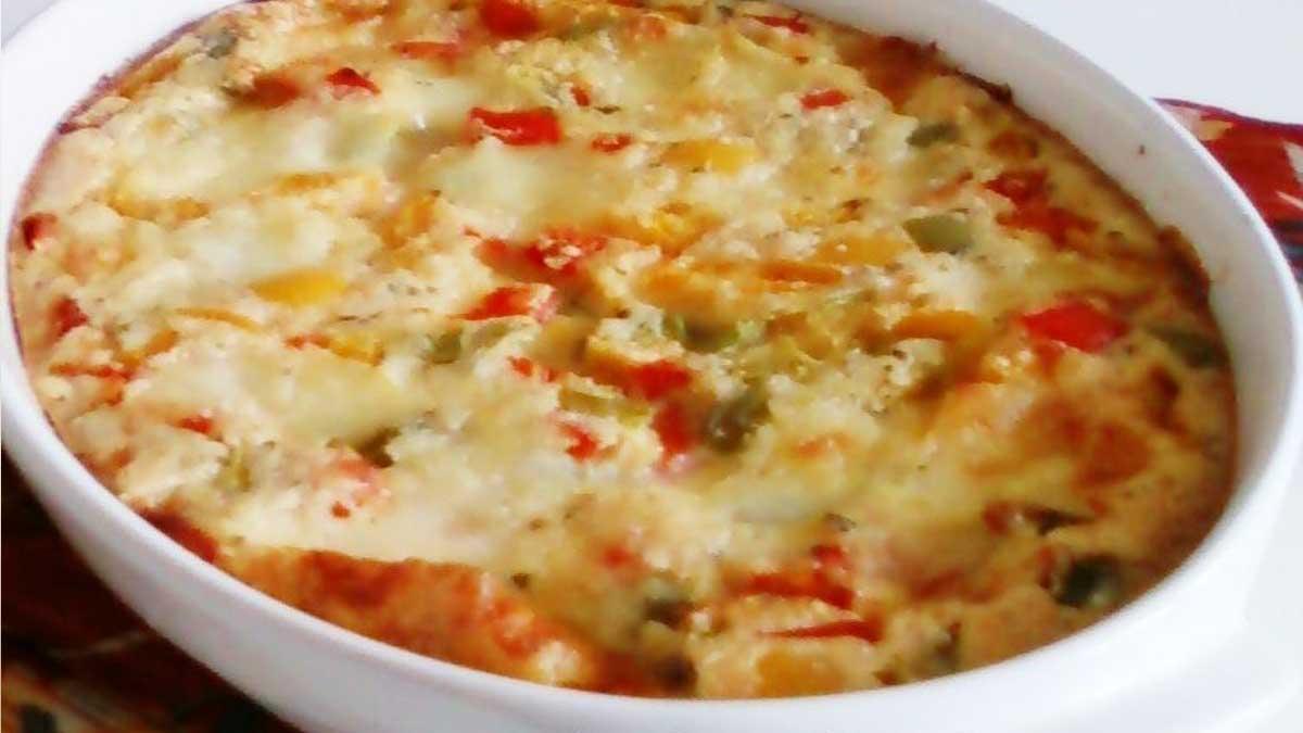 Irrésistible clafoutis aux poivrons et mozzarella