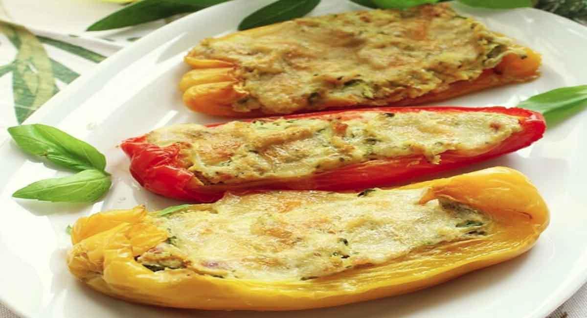 Poivrons farcis aux légumes gratinés au fromage