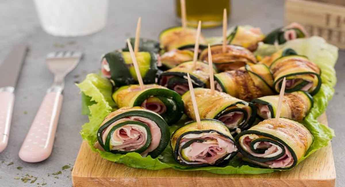 Rouleaux de courgettes grillées au fromage et jambon cuit